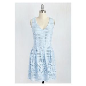 ModCloth - pale blue laser-cut pattern dress